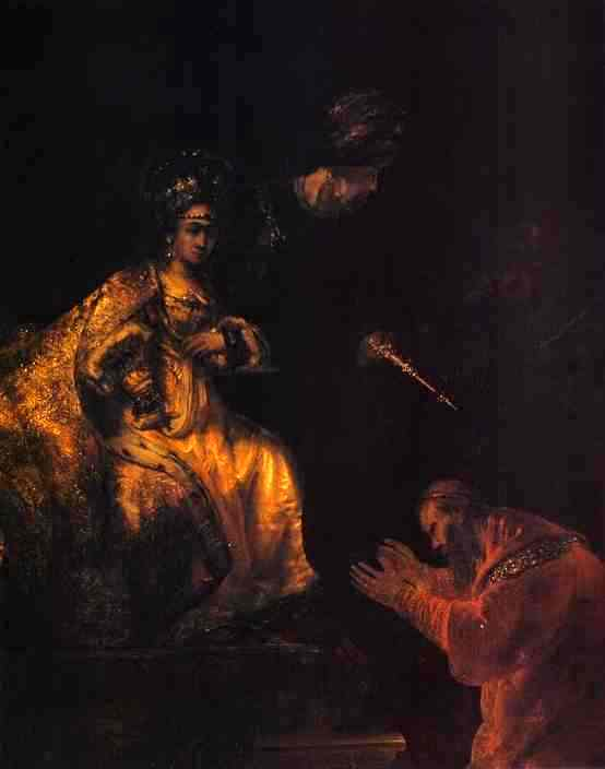 Esther Paintings: 'Haman Begging Esther for Mercy', Rembrandt, 1655