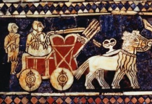 Heavy-wheeled chariots shown on the Standard of Ur, circa 2,500 BC