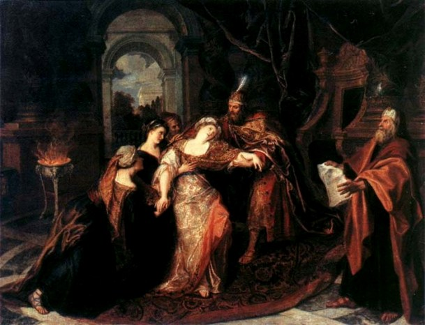 'Haman Begging Esther for Mercy', Rembrandt, 1655