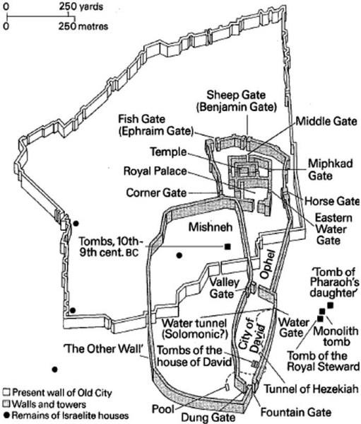 Map of Jerusalem at the time of Huldah