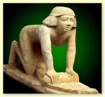 WOMEN IN THE BIBLE :HAGAR: EGYPTIAN STATUETTE, WOMAN WORKING