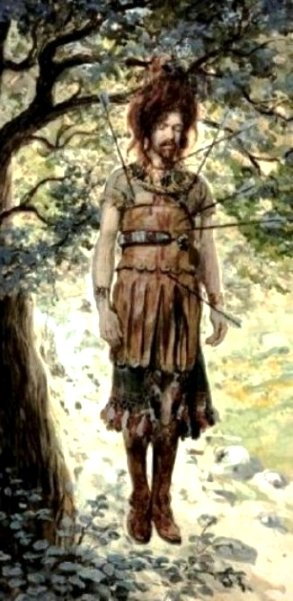 Bible Murders: Absalom. The death of Absalom, painting by James Tissot; Absalom's body hangs from the tree in which his hair was caught