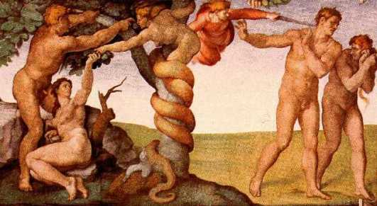 The Fall from Grace and Expulsion from Paradise, Michelangelo, Sistine Chapel
