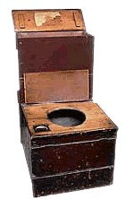 Bible Murders: Ehud murders Eglon. A 19th century commode - but ancient lavatory arrangements were probably similar