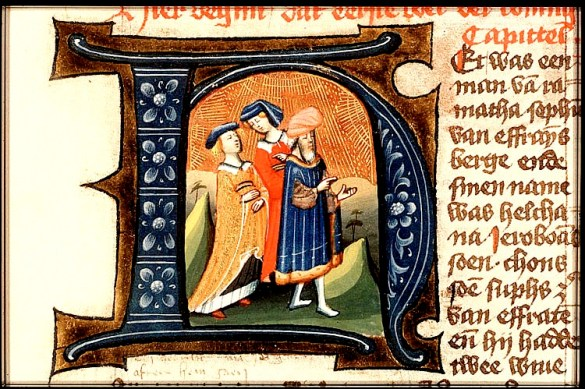 Elkanah and his wives, illuminated letter
