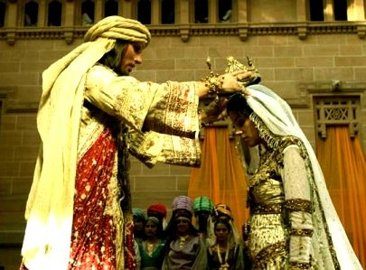 Bible Heroines: Esther is crowned queen; scene from a modern film