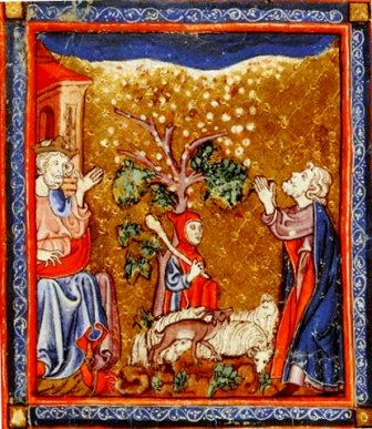 Moses and the Ten Plagues of Egypt. Medieval manuscript showing the damage to foliage and livestock caused by heavy hail