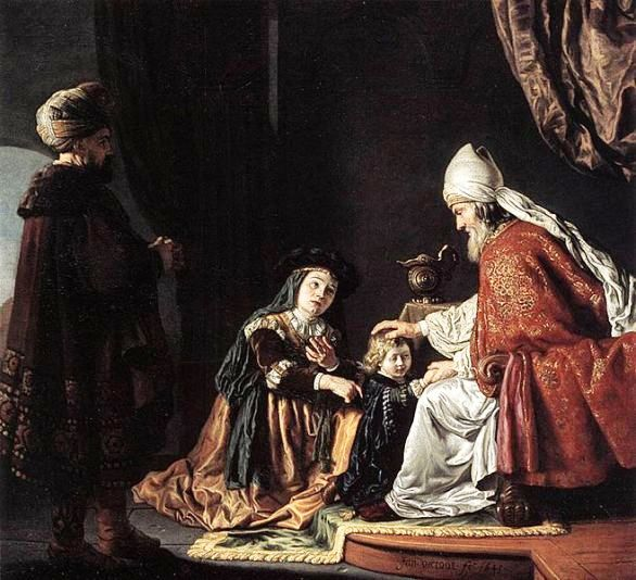 Hannah in the temple, Rembrandt