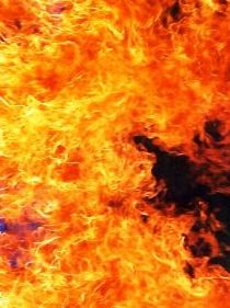 Raging flames, orange and black
