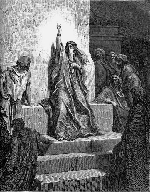 19th century etching of Huldah at Huldah's Gate in Jerusalem