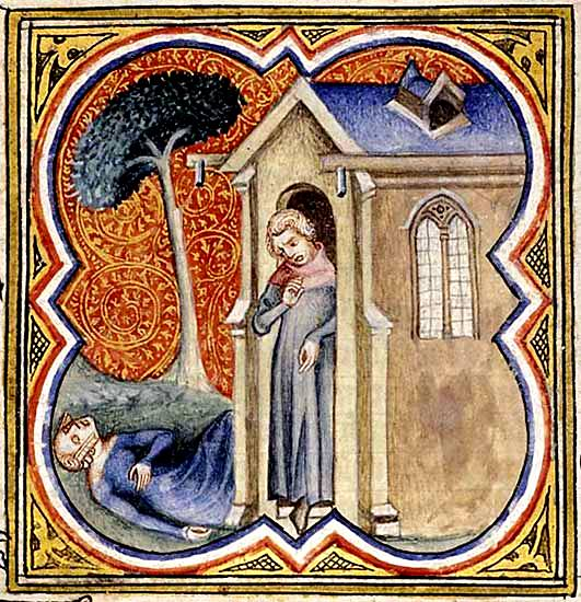 The Levite finds the dead concubine on the steps of the house, medieval manuscript illustration