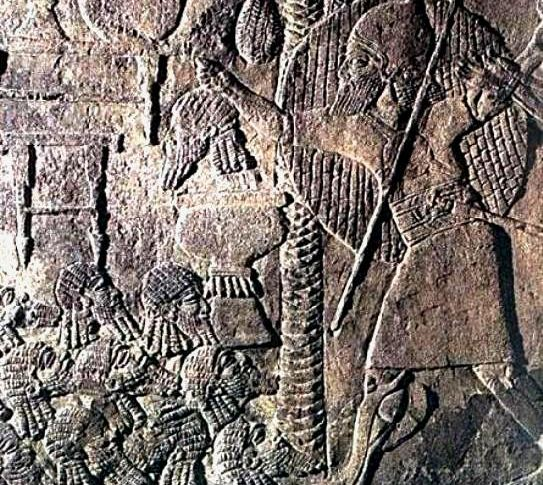 Bible Murders: Jehu slaughters the royal children. Assyrian wall relief showing a pile of severed heads; this barbarism seems to have been common practice in the ancient Middle East