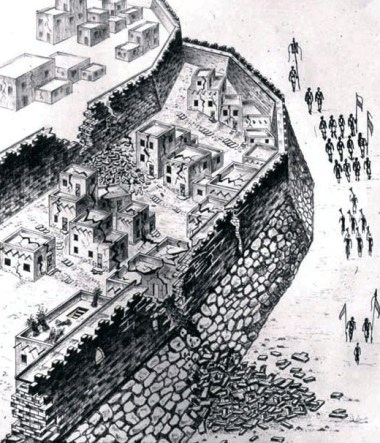 Reconstruction of the collapse of the walls surrounding Jericho.