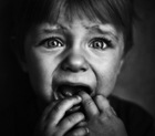 Photograph of a terrified child