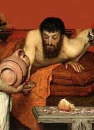 Bible Murders: Judith and Holofernes. Man drinking wine from a large flagon
