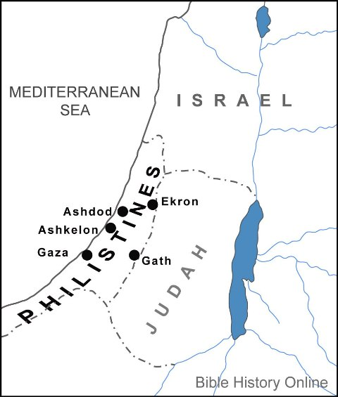 Map showing territory of the Philistines