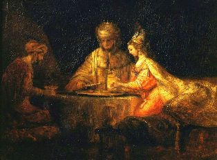 Rembrandt, Ahasaurus, Haman and Esther at the banquet