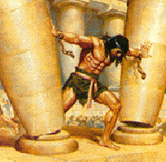 Painting depicting the moment when Samson demolished the two main columns of the Temple of Dagon