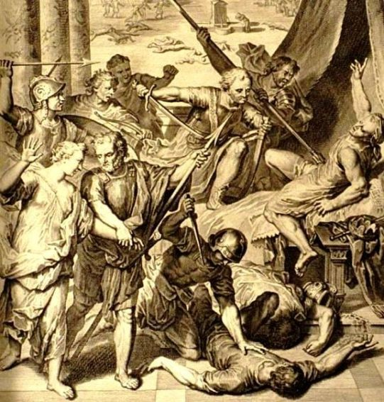 Simeon and Levi murder the Sichemites; Jacob forces Dinah to watch