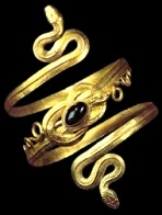 Ancient gold bracelet in the shape of a double-headed snake