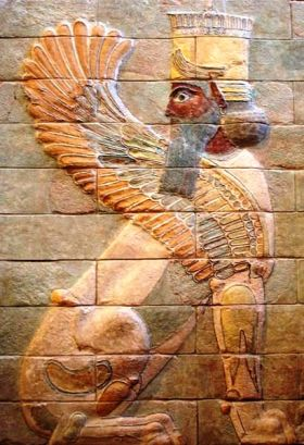 Winged sphinx from the Palace at Susa, where the banquet was held (Louvre Museum)