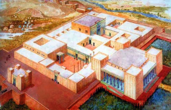 Reconstruction of the ancient palace at Susa. Note the position of the throne room, at the center of the building.