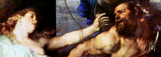 The moment of betrayal: Samson realizes it is Delilah who has betrayed him to the Philistines. Detail from Van Dyck painting