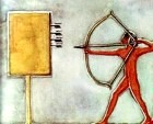 Ancient Egyptian archer practising his marksmanship