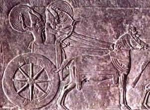 Large-wheeled chariot, Assyrian, with armed warriors