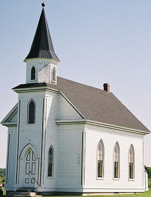 Good Advice: Give time to God. White church with steeple