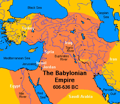 Map of the Babylonian Empire 606-536BC