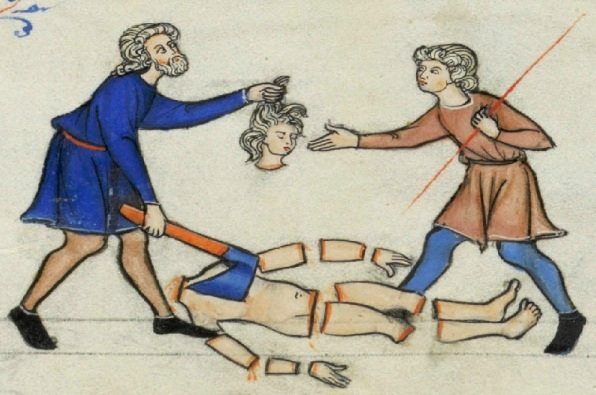 The concubine dismembered, medieval manuscript