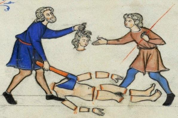 The concubine dismembered, medieval manuscript