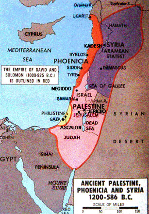 Map of ancient Palestine, Phoenicia and Syria in 1200-586 BC
