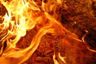 Flames of a funeral pyre