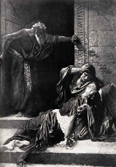 The two men find the body of the concubine on the doorstep