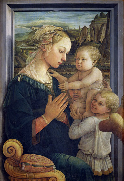 Bible Paintings - Madonna and Child with Angels, Fra Filippo Lippi, 1457-1465