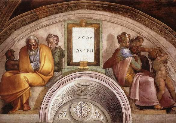 Michelangelo's painting of Jacob with Leah and Rachel, Sistine Chapel
