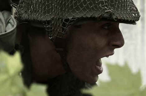 Bible warriors & soldiers: the Maccabees. Modern soldier in battle
