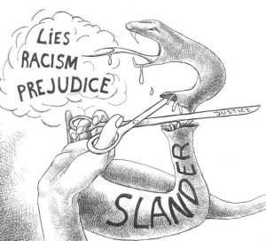 Cartoon about slander, prejudice, racism, lies