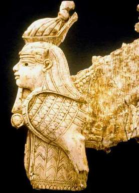 Ivory carving of a winged sphinx from Nimrud; the palace in which Jezebel lived was called the Ivory House because of the wealth of carved ivory used in its decoration