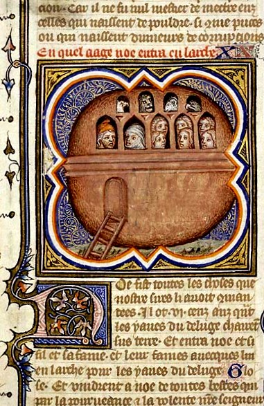 Paintings of Noah and the Ark, the Ark of Noah drifting on the water, Illustrator Petrus Comestors Bible Historials France
