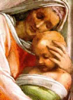 Ruth and Naomi in Bible Paintings: Detail of Michelangelo's fresco in the Sistine Chapel, showing Ruth and Obed