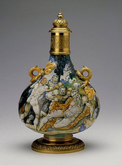 Noah, Flood. Wine Flask with lid, showing scenes of Noah's drunkenness, 1540, Italy
