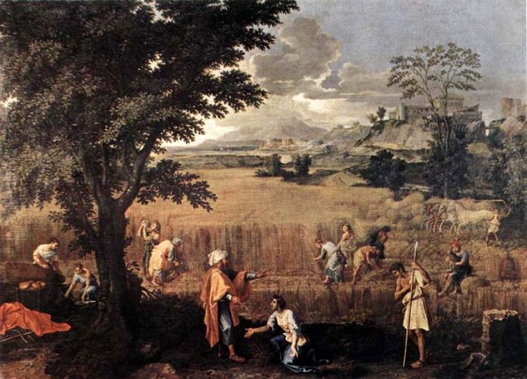 Ruth and Naomi in Bible Paintings: Ruth meets Boaz, Nicolas Poussin, Bible Art Gallery: paintings from the Old and New Testaments