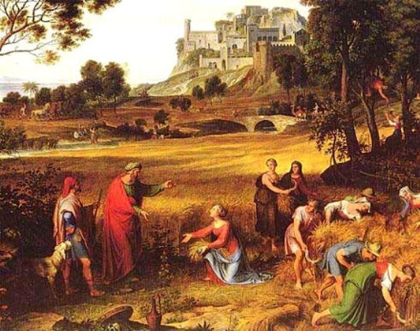 Ruth and Naomi in Bible Paintings: Joseph Anton Koch, Landscape with Ruth and Boaz, Josep Anton Koch, 1768-1839