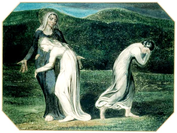Ruth and Naomi in Bible Paintings: Ruth and Naomi, William Blake, Bible Art Gallery: paintings from the Old and New Testaments