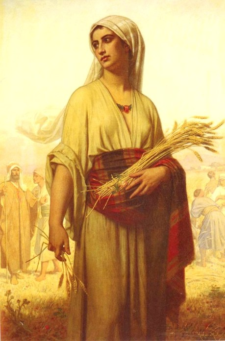 Ruth and Naomi in Bible Paintings: Merle Hugues, Ruth in the Fields, Bible Art Gallery: paintings from the Old and New Testaments