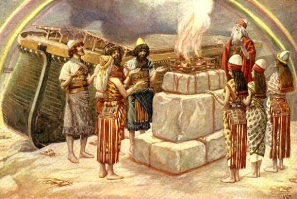 Noah's covenant, with the Ark and the rainbow, symbol of the covenant