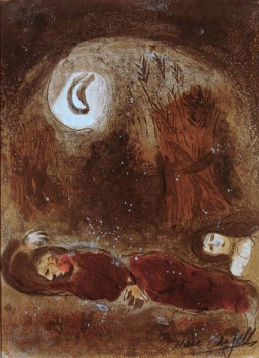 Ruth and Naomi in Bible Paintings: Ruth at the feet of Boaz, Marc Chagall, Bible Art Gallery: paintings from the Old and New Testaments
